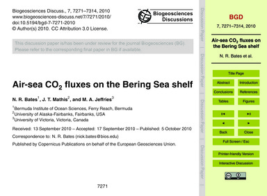 Air-sea Co2 Fluxes on the Bering Sea She... by Bates, N. R.