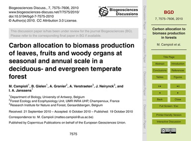 Carbon Allocation to Biomass Production ... by Campioli, M.