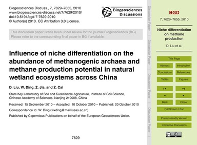 Influence of Niche Differentiation on th... by Liu, D.