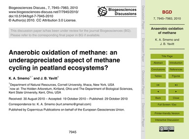 Anaerobic Oxidation of Methane: an Under... by Smemo, K. A.
