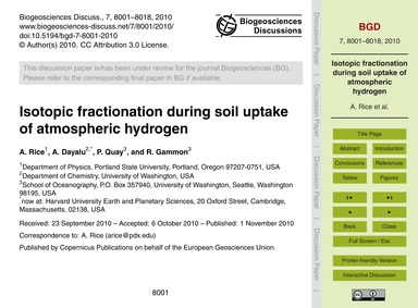 Isotopic Fractionation During Soil Uptak... by Rice, A.
