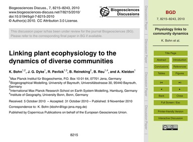Linking Plant Ecophysiology to the Dynam... by Bohn, K.