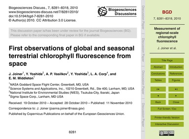First Observations of Global and Seasona... by Joiner, J.
