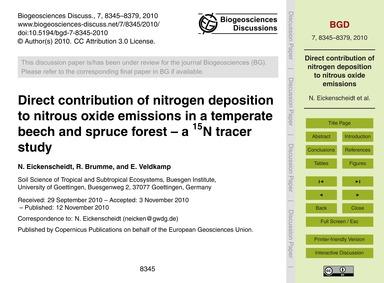 Direct Contribution of Nitrogen Depositi... by Eickenscheidt, N.