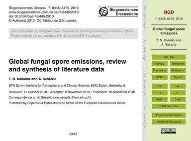 Global Fungal Spore Emissions, Review an... by Dallafior, T. N.