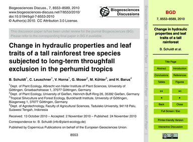 Change in Hydraulic Properties and Leaf ... by Schuldt, B.