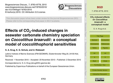 Effects of Co2-induced Changes in Seawat... by Krug, S. A.