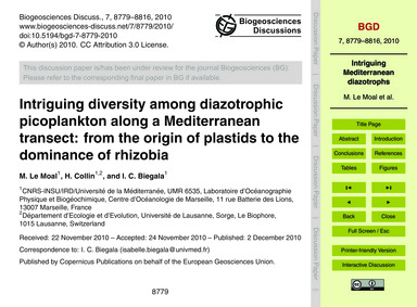 Intriguing Diversity Among Diazotrophic ... by Le Moal, M.