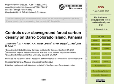 Controls Over Aboveground Forest Carbon ... by Mascaro, J.