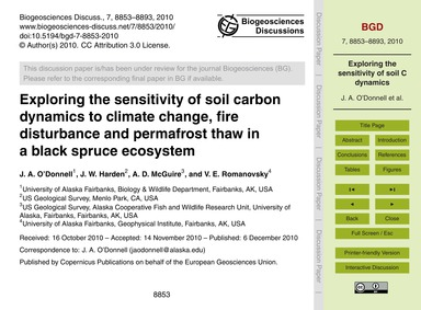 Exploring the Sensitivity of Soil Carbon... by O'Donnell, J. A.
