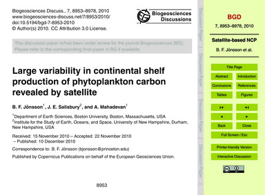Large Variability in Continental Shelf P... by Jönsson, B. F.