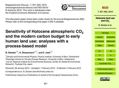 Sensitivity of Holocene Atmospheric Co2 ... by Stocker, B.