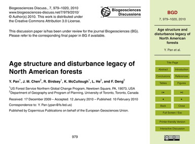 Age Structure and Disturbance Legacy of ... by Pan, Y.