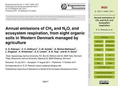 Annual Emissions of Ch4 and N2O, and Eco... by Petersen, S. O.