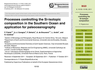 Processes Controlling the Si-isotopic Co... by Fripiat, F.