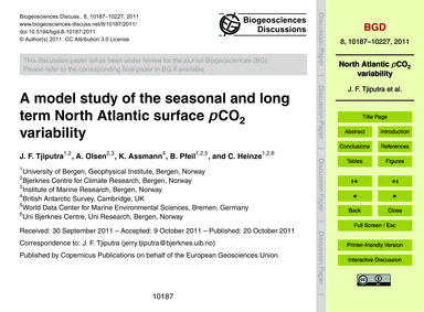 A Model Study of the Seasonal and Long T... by Tjiputra, J. F.