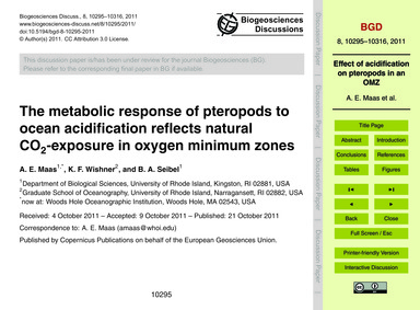 The Metabolic Response of Pteropods to O... by Maas, A. E.