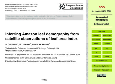 Inferring Amazon Leaf Demography from Sa... by Caldararu, S.