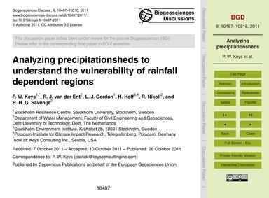 Analyzing Precipitationsheds to Understa... by Keys, P. W.