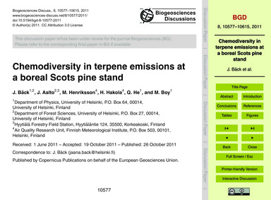 Chemodiversity in Terpene Emissions at a... by Bäck, J.