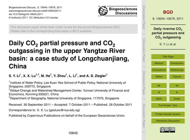 Daily Co2 Partial Pressure and Co2 Outga... by Li, S. Y.
