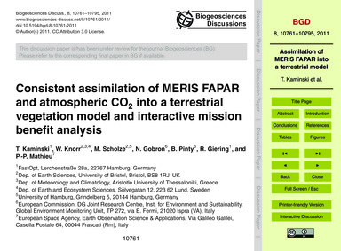 Consistent Assimilation of Meris Fapar a... by Kaminski, T.