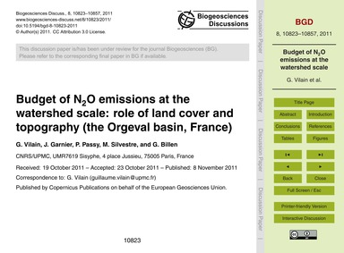 Budget of N2O Emissions at the Watershed... by Vilain, G.