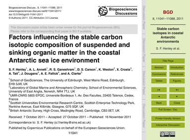 Factors Influencing the Stable Carbon Is... by Henley, S. F.