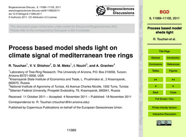 Process Based Model Sheds Light on Clima... by Touchan, R.