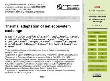 Thermal Adaptation of Net Ecosystem Exch... by Yuan, W.