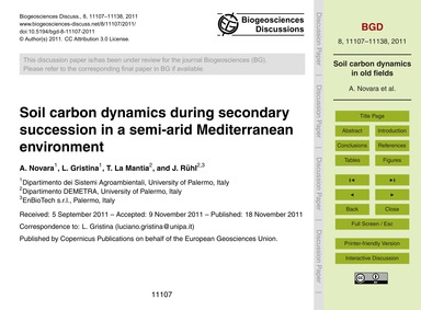 Soil Carbon Dynamics During Secondary Su... by Novara, A.