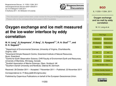 Oxygen Exchange and Ice Melt Measured at... by Long, M. H.