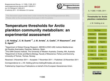 Temperature Thresholds for Arctic Plankt... by Holding, J. M.