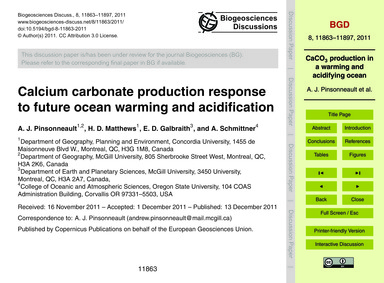 Calcium Carbonate Production Response to... by Pinsonneault, A. J.