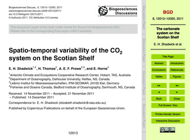 Spatio-temporal Variability of the Co2 S... by Shadwick, E. H.