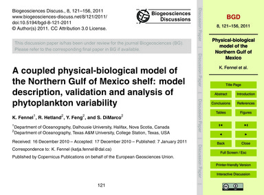 A Coupled Physical-biological Model of t... by Fennel, K.
