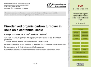 Fire-derived Organic Carbon Turnover in ... by Singh, N.