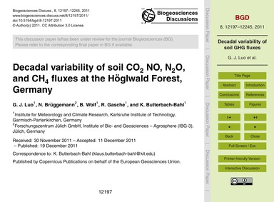 Decadal Variability of Soil Co2 No, N2O,... by Luo, G. J.