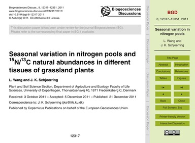 Seasonal Variation in Nitrogen Pools and... by Wang, L.
