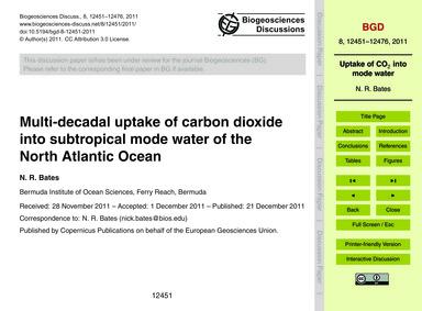 Multi-decadal Uptake of Carbon Dioxide I... by Bates, N. R.