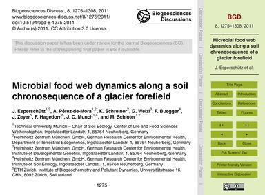 Microbial Food Web Dynamics Along a Soil... by Esperschütz, J.