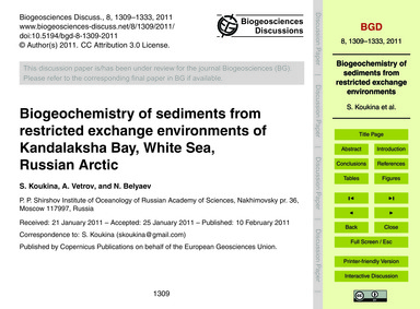 Biogeochemistry of Sediments from Restri... by Koukina, S.