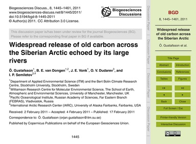 Widespread Release of Old Carbon Across ... by Gustafsson, Ö.