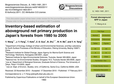 Inventory-based Estimation of Abovegroun... by Wang, Y.
