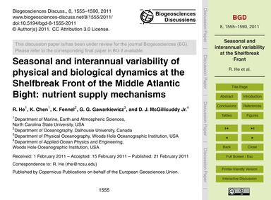 Seasonal and Interannual Variability of ... by He, R.