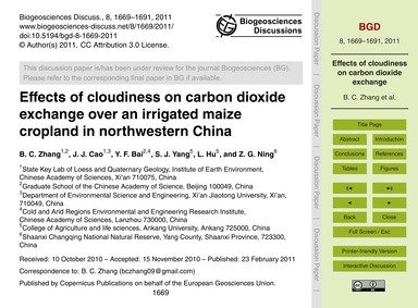 Effects of Cloudiness on Carbon Dioxide ... by Zhang, B. C.