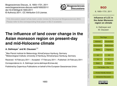 The Influence of Land Cover Change in th... by Dallmeyer, A.