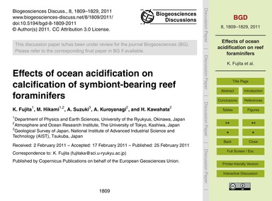 Effects of Ocean Acidification on Calcif... by Fujita, K.