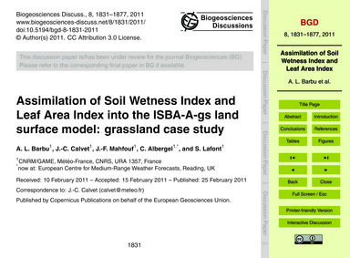 Assimilation of Soil Wetness Index and L... by Barbu, A. L.