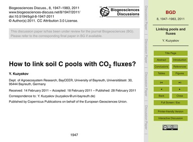 How to Link Soil C Pools with Co2 Fluxes... by Kuzyakov, Y.